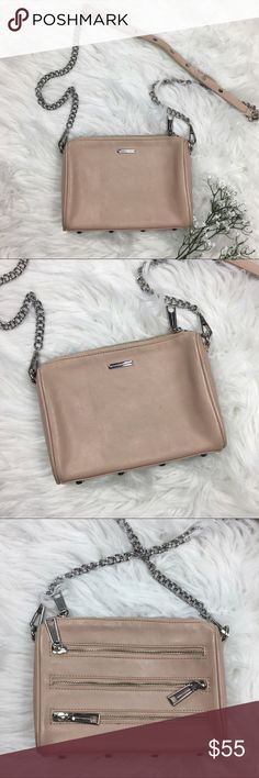 Rebecca Minkoff Crossbody Bag Leather Tan Purse • Brand: Rebecca Minkoff  • Size: OS • Material: See picture of tag in photos • Previously owned; a few marks on the bag as shown in pics but overall great condition!   • Length 6.5 Width 9 Depth 1.5 • Other info: silver hardware Rebecca Minkoff Bags Crossbody Bags