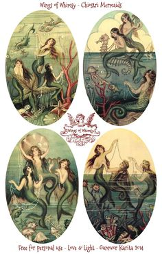 Wings of Whimsy: Chiostri Mermaids #vintage #ephemera #tags #mermaids #freebie #printable