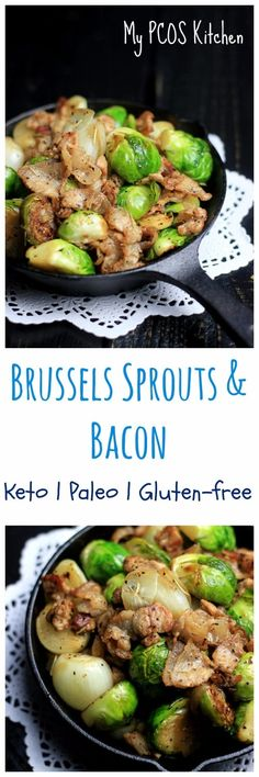 My PCOS Kitchen - Brussels Sprouts with Bacon - A paleo and keto simple appetizer or side dish! Low Carb, gluten-free and dairy-free. Healthy Brussel Sprout Recipes, Shredded Brussel Sprout Salad, Sprouts With Bacon, Roasted Garlic Brussel Sprouts, Roasted Bacon, Brussels Sprouts, Healthy Gluten Free Recipes, Bacon Recipes, Paleo