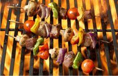 Grilled Turkey, Portabello Mushrooms & Vegetable Kabobs