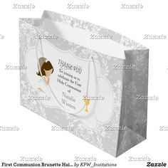 First Communion Brunette Hair Girl Thank You Large Gift Bag Blonde Hair Girl, Brunette Hair, Holiday Cards, Christmas Cards, First Communion Invitations, Custom Gift Bags, Large Gift Bags, Christmas Card Holders, Invitation Design