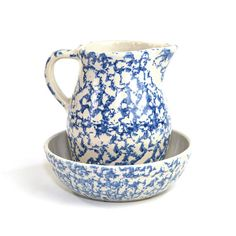 Vintage Robinson Ransbottom Pottery Pitcher & Bowl Set: Elegant cobalt blue stoneware serving or decor set, made in Roseville Ohio. Available from OneRustyNail on Etsy. ► http://www.etsy.com/shop/OneRustyNail