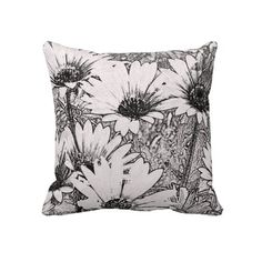 Black and White Floral Design Throw Pillow