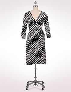 Misses | Dresses | Graduated Stripe Side Wrap Dress | dressbarn