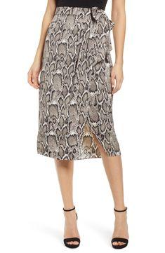 Women's Afrm Savvy Snakeskin Print Wrap Skirt, Size X-Large - Beige Lace Skirt, Midi Skirt, Nordstrom Beauty, Prom Looks, Dresses For Work, Summer Dresses, Print Wrap, Skirt Outfits, Looking For Women