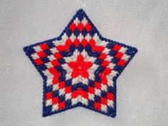 Starburst Ornament-Red, White, Blue-Patriotic, Plastic Canvas Star. $4.00, via Etsy.
