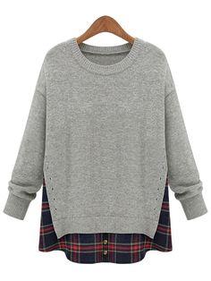 Grey Long Sleeve Plaid Plus Top