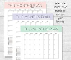 Monthly Planner Printable  Monthly Calendar  Organizer