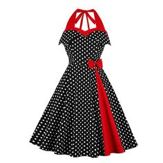 Party Halter Polka Dot Dress Women A Line Pin Up Summer Off Shoulder Sexy Evening Backless Rockabilly Elegant Short Dresses Pin Up Dresses, Ball Gown Dresses, Types Of Dresses, Cheap Dresses, Short Dresses, Dresses Dresses, Pretty Dresses, Vestidos Vintage, Vintage 1950s Dresses