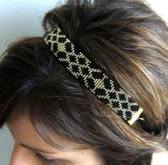 Headband tissé / bijou de tête tissé / bandeau cheveux / serre tête  motif géométrique en perles de rocailles Miyuki de 2mm de la boutique EmmashopCreations sur Etsy