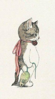 「ヒグチユウコ ポストカード」 Kitty w/Mouse::by Yuko Higuchi Crazy Cat Lady, Crazy Cats, I Love Cats, Cute Cats, Funny Cats, Art And Illustration, Cat Illustrations, Postcard Book, Here Kitty Kitty