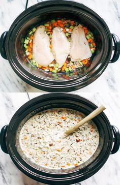 Slow Cooker Chicken Wild Rice Soup | pinchofyum.com