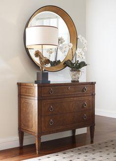 French Empire style walnut veneered chest of three drawers with fine geometric JonathanCharles #Windsor #Furniture