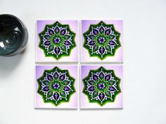 Purple Mosaic Resin Coaster Set