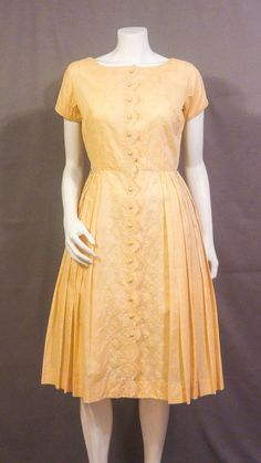 1950s Cotton Sundress with Eyelet Lace   Vintage Summer Dress