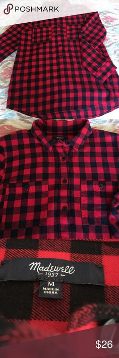 """MADEWELL RED PLAID SHIRT SIZE M 100% COTTON GENTLY USED TWICE TWO FRONT POCKETS LONG SLEEVES PULL OVER MEASURES SHOULDERS 32"""" WAIST 40"""" LENGTH 27"""" SLEEVES 24"""" GREAT BUY!! Madewell Tops Button Down Shirts"""