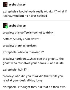 a multifandom mess a multifandom mess,Good Omens Aziraphale's book shop is haunted lol Movies Showing, Movies And Tv Shows, Series Movies, Jandy Nelson, Good Omens Book, Michael Sheen, Terry Pratchett, Fandoms, Hilarious