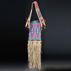 Crow Beaded Hide and Cloth Mirror Bag | Sale Number 2636B, Lot Number 70 | Skinner Auctioneers