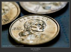 A Sacagawea gold dollar coin, commemorating the Wampanoag Treaty on the other side. www.JNFineArt.com