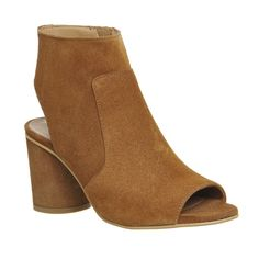 Office Marley Peep Toe Shoe Boots ($100) ❤ liked on Polyvore featuring shoes, boots, ankle booties, mid heels, tan suede, women, suede boots, tan suede ankle booties, high heel booties and high heel ankle booties