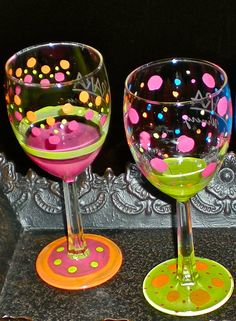 Items similar to Hand Painted Wine Glass Set (2 glasses) on Etsy