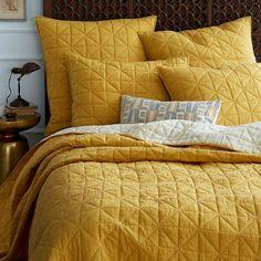 Bedding - Nomad Coverlet + Shams - Golden Gate   west elm - yellow bedding, yellow coverlet, yellow pillow shams, mustard yellow bedding,