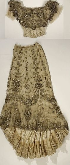 Ball Gown 1900 (Edwardian), American, Made of silk, cotton, and glass