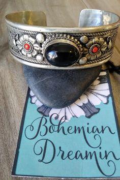 Silver Bangles, Silver Jewelry, Beaded Cuff Bracelet, Bracelets, Chunky Jewelry, Bohemian Jewelry, Black Onyx, Nepal, Filigree