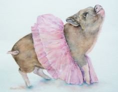 """This ballerina piglet, """"Porcine en Pointe"""", is my best friend's real life pig named Cupcake. I think she's adorable and ready for her ballet debut! Original Watercolor sold, but prints and cards are available for purchase at www.SilvestriStudios.com."""