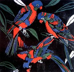 Modern Printmakers: The Antipodes, the arts & crafts & Margaret Preston Henri De Toulouse Lautrec, Australian Painting, Australian Artists, Gustav Klimt, Margaret Preston, Australian Parrots, Woodcut Art, Nz Art, Bird Artwork