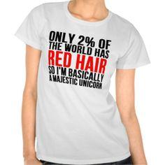 RED HAIR MAJESTIC UNICORN SHIRT