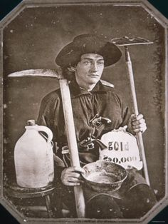 Gold Rush Prospector, California daguerreotype of California gold rush miner with his tools. Wild West, Old Pictures, Old Photos, Moving Pictures, Vintage Photographs, Vintage Photos, Gold Miners, Saloon, California History