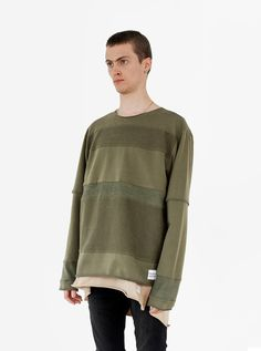 Profound Aesthetic Half Reversed Terry Panel Pullover in Olive. Flight Through the Gardens Spring Summer 2016 Collection. http://profoundco.com