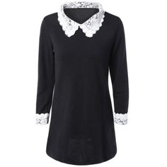 Lace Spliced Flat Collar Loose Fit Mini Dress