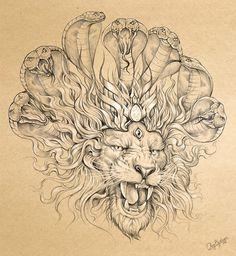 Narsimha - the punishing form of God Vishnu God Tattoos, 1 Tattoo, Hindu Tattoos, Lion Head Tattoos, Lotus Tattoo, Shiva Tattoo Design, Lion Sketch, Really Cool Drawings, Goddess Tattoo