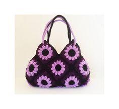 Hier ist das wahre Bijou für Damen :) Liebenswert lila und grau gehäkelt vollständig handgemachte Handtasche für Ihr perfektes Outfit. Hochwertige Garne