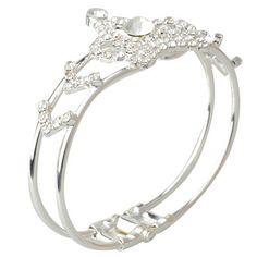 Stylish Crown Shaped Rhinestone Alloy Bangle Bracelet