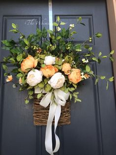 Excited to share this item from my shop: Floral basket wreath Fall wreath Wreath for front doors pink spring wreath basket Fall wreath farmhouse wreath orange and cream Christmas Door Wreaths, Spring Door Wreaths, Diy Fall Wreath, Autumn Wreaths, Easter Wreaths, Wreaths For Front Door, Front Doors, Summer Wreath, Greenery