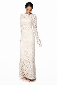 modest white dress with sleeves could be a long sleeve wedding dress| Follow Mode-sty for stylish #modest clothing www.mode-sty.com #sleevesplease #nolayering