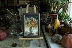 Artist Tatyana Goodz. Miniature painting #3 small fine art original decorative gift mixed berries flowers vase still life affordable handmade 10x15 impressionism