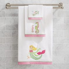 Jumping Beans Fish Tales Embroidered Hand Towel Kids Bathroom - Fish bath towels for small bathroom ideas