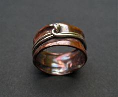 Copper Spinner Ring by DeborahLeeTaylor on Etsy Copper Rings, Copper Jewelry, Wire Jewelry, Jewelry Crafts, Jewelry Rings, Jewelry Ideas, Wire Rings, Jewlery, Handmade Copper