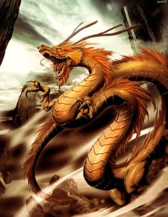 Shenlong, also Shen-lung, is a spiritual dragon from Chinese mythology who is the master of storms and also a bringer of rain. He is of equal significance like Tianlong, the celestial dragon. Fantasy Dragon, Dragon Art, Fantasy Art, Dragon Tales, Fire Dragon, Fantasy Creatures, Mythical Creatures, Mythological Creatures, Dragon Oriental
