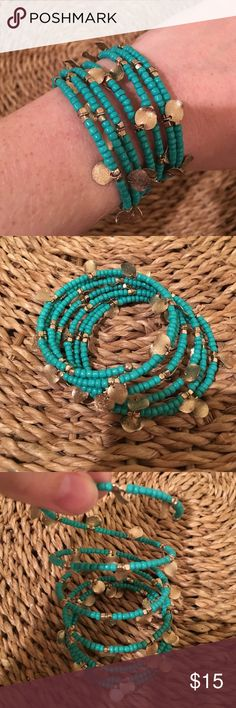SALE Turquoise and Gold beaded wrap bracelet This bracelet is one piece. All pieces and beads are intact. Such a cute color for summertime and is light weight. Francesca's Collections Jewelry Bracelets