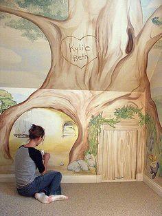 Beatrix Potter mural for a kids room Playroom Mural, Kids Room Murals, Murals For Kids, Wall Murals, Wall Art, Fairy Bedroom, Peter Rabbit Nursery, Mural Painting, Nursery Inspiration