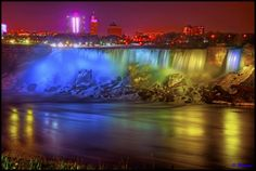 Niagara Falls Canada - American Falls Night Illumination