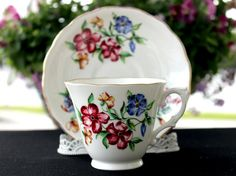 Colclough Tea Cup and Saucer English Bone by TheVintageTeacup