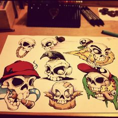 Skull tattoo flash ting. by CHEO., via Flickr