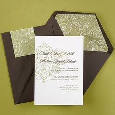 Distinction Invitation from the Exclusive Collection II by Carlson Craft, shown in Mocha Brown and Champagne. Distinguished, vintage inspired elegance is achieved through the simple swirled design. See more at www.frostedpink.carlsoncraft.com