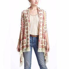 Anthropologie Cardigan ✨Bright bands of paisley rows meet on this open front, lightweight soft fringed cardigan. ✨Made of cotton nylon and a touch of cashmere! ✨Soft and luxurious,  will make every outfit look beautiful, the print is unique and works with everything.  in great condition. Anthropologie Sweaters Cardigans
